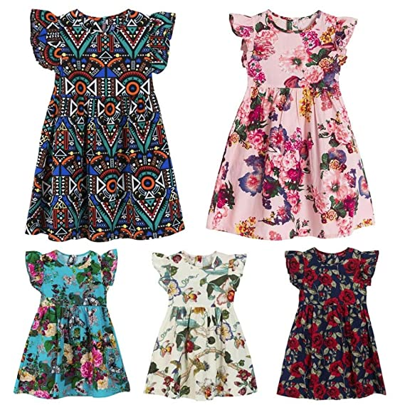 wuayi Girls Dresses Baby Girls Short Sleeve Bowknot Cartoon Cat Print Dress Clothes Outfits 1-6 Years