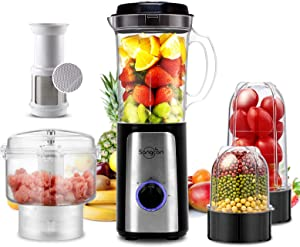 5 IN 1 Food Processor High Speed Smoothie Blender Small Food Processor for Shakes and Smoothies, with 34Oz Pitcher,Juice Cup, Coffee Grinder Cup, and Chopper Vegetable Meat Choppers for Puree, Fruit Salad