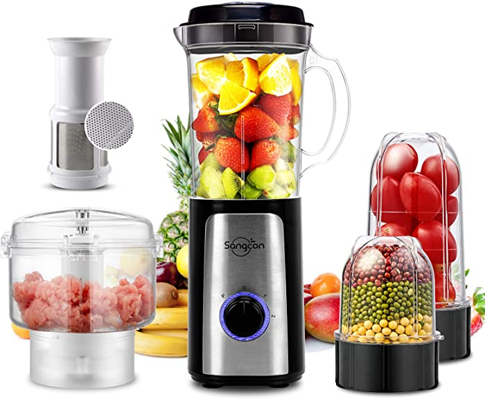 5 IN 1 Personal Blender, 350 Watt High-Speed Smoothie Blender Small Countertop Blenders Single Serve Blender for Shakes and Smoothies, Mini Blender with 34Oz Pitcher,Juice Cup, Coffee Grinder Cup, and Chopper