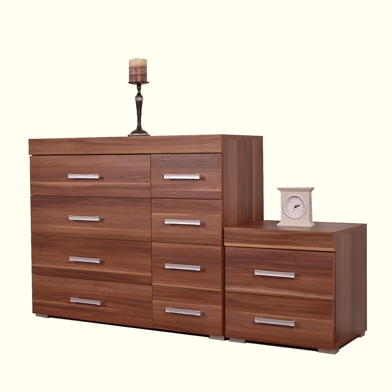 DP Walnut 4+4 Drawer Chest & 2 Drawer Bedside Cabinet Bedroom Furniture 8