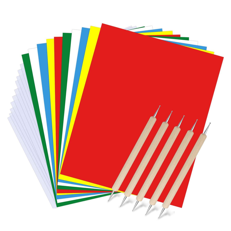 point de croix Kereda Lot de 25 feuilles de papier de transfert et de gaufrage soluble dans leau Carbone color/é pour tissu toile bois broderie couture papier