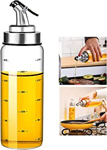 Olive Oil Dispenser Bottle, Liquid Condiment Container, 10 Oz Vinegar Dispensing Cruets With Dripless Capped Spout, Glass Decanter for Kitchen with Degree Scale