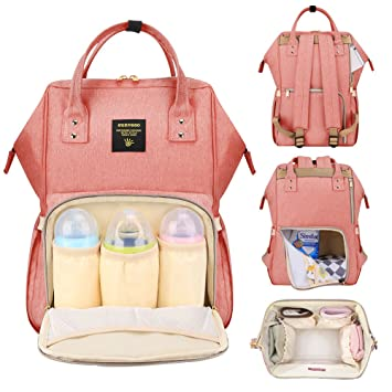 6e78444306 Amazon.com   Sunveno Baby Diaper Bag Mummy Maternity Nappy Bag Large Capacity  Travel Backpack Desiger Nursing Bag for Baby Care Pink   Baby
