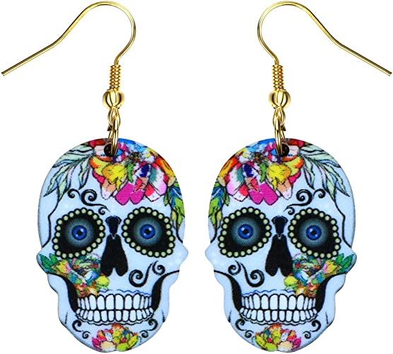 Liavy's Day of the Dead Sugar Skull Fashionable Earrings - Acrylic - Fish Hook - Unique Gift and Souvenir - 6 Colors