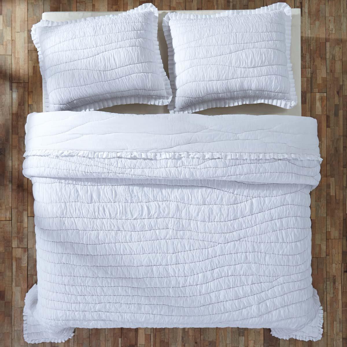 Aurora White Quilt King King 27277 VHC Brands Americana Farmhouse Bedding