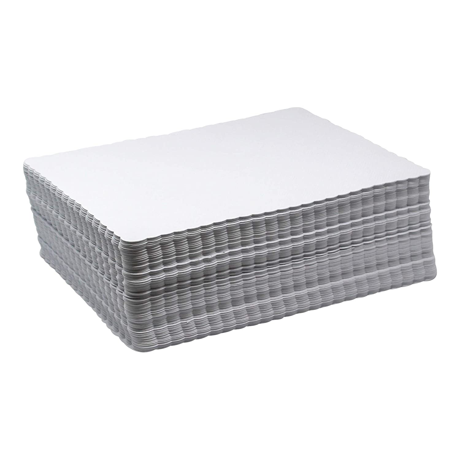 "Scalloped Paper Placemats Bulk - Case of 1000 Rectangular Mats - 10"" x 14"" White Placemats - Disposable Commercial Place Mats for Health Care Facilities, Restaurants, Diners, and Catered Events"