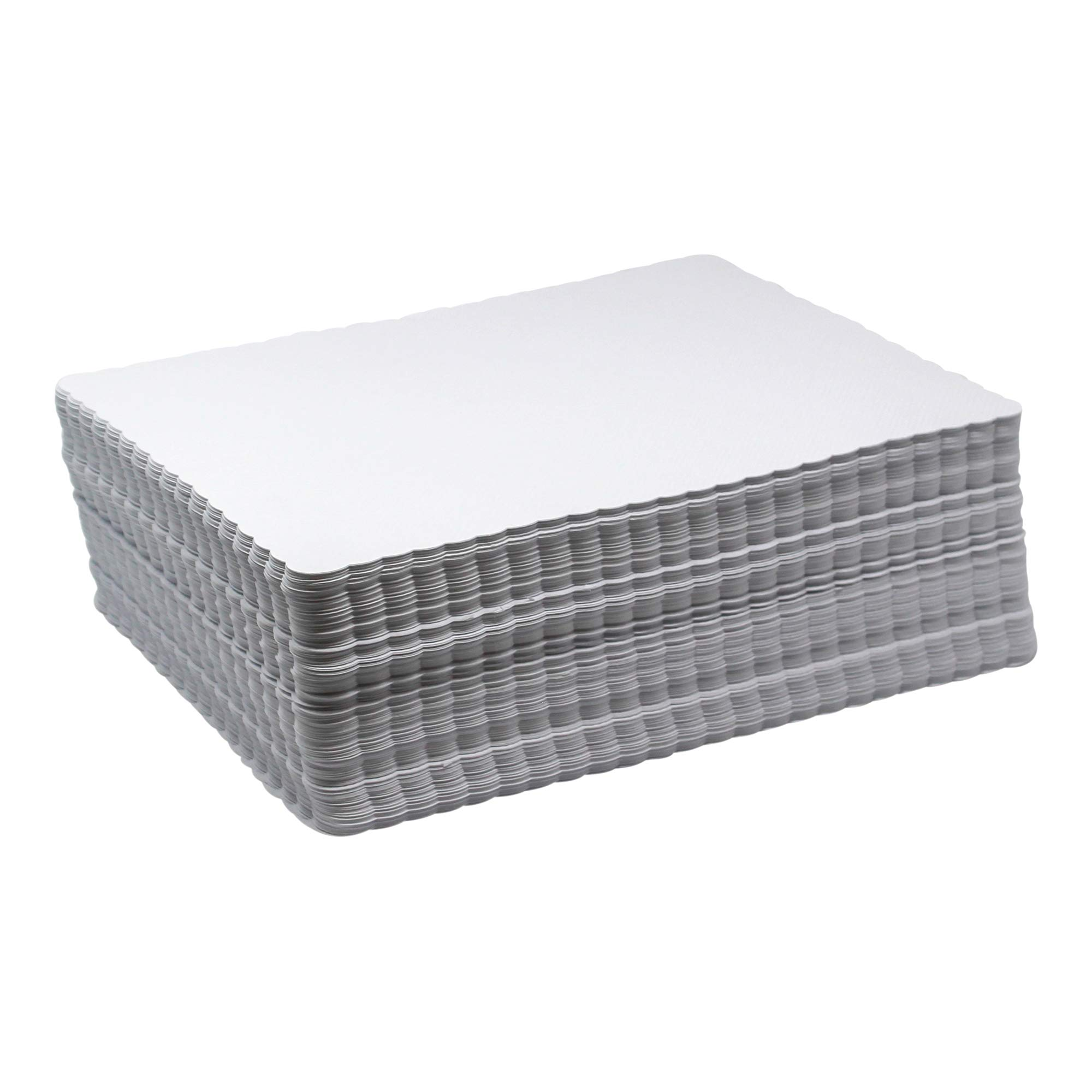 Scalloped Paper Placemats Bulk - Case of 1000 Rectangular Mats - 10'' x 14'' White Placemats - Disposable Commercial Place Mats for Health Care Facilities, Restaurants, Diners, and Catered Events