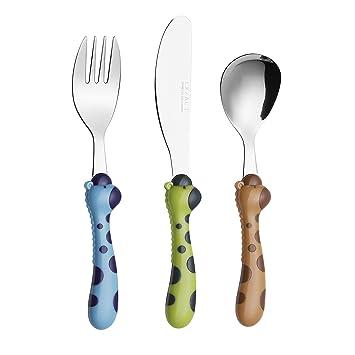 Exzact - Juego de 3 Cubiertos Infantiles de Acero Inoxidable, 1 Tenedor, 1 Cuchillo de Cena Seguro, 1 Cuchara de Cena (Jirafa x 3 Piezas)