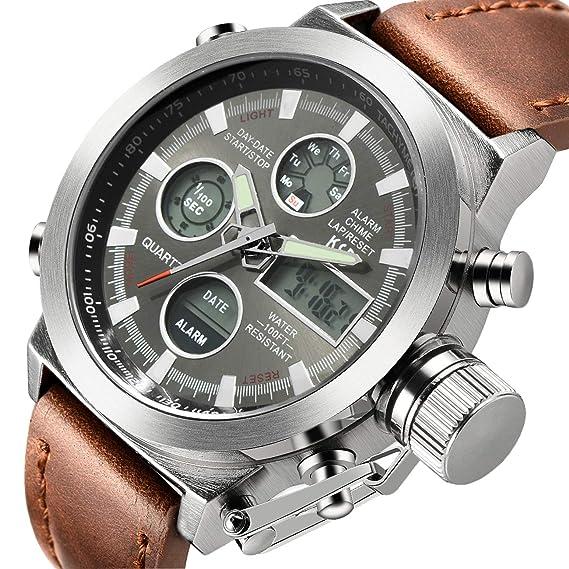 Reloj analógico de cuarzo, para hombre, con correa de piel marrón: Amazon.es: Relojes