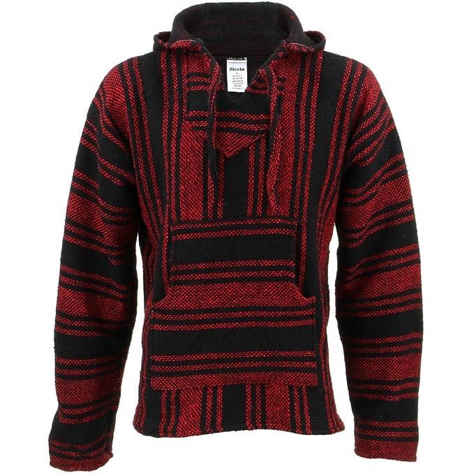Siesta Mexican Baja Jerga Rojo y Negro con Capucha Hippie Parte Superior: Amazon.es: Ropa y accesorios