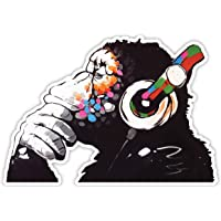 Banksy Denker Aap Hoofdtelefoon Ontwerp   Wall Art Graffiti Vinyl Sticker   Urban Art Window, Auto, Laptop Decal Medium…