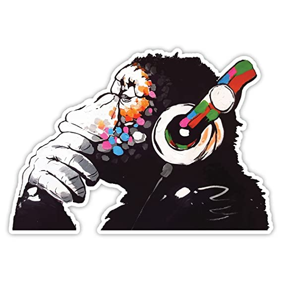 Banksy Denker Monkey Kopfhörer Design | Art Wand Graffiti Vinyl Aufkleber | Urban Art Fenster, Auto, Laptop Aufkleber - Large