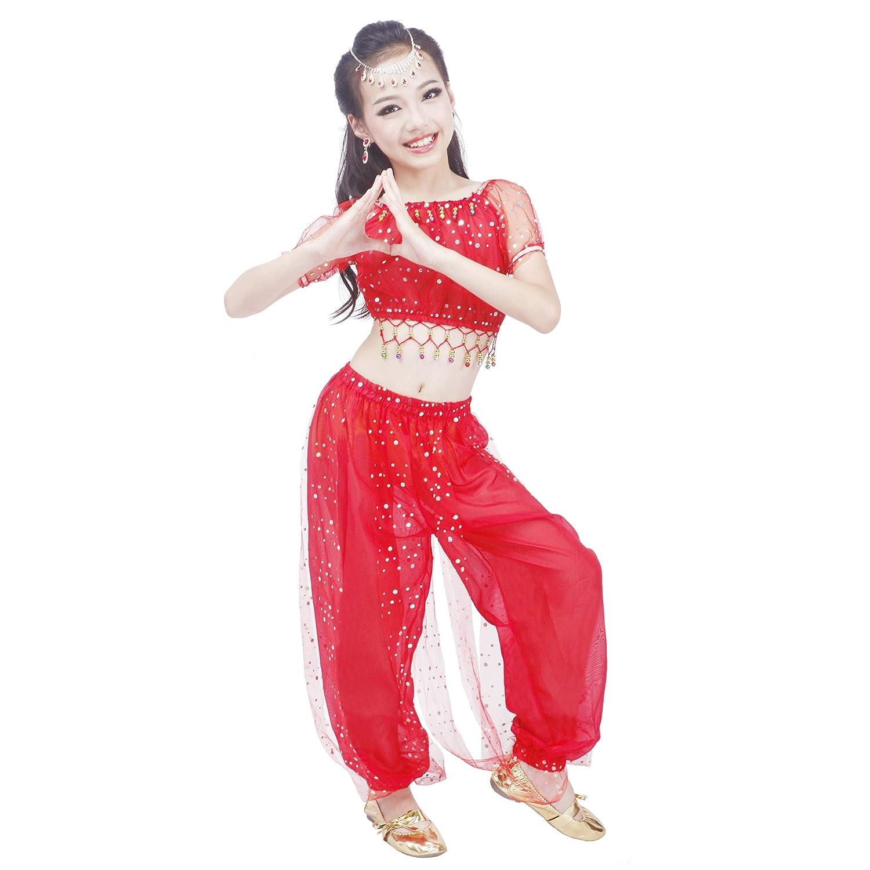 Maylong Girls Polka Dot Harem Pants Belly Dance Outfit Halloween Costume DW50