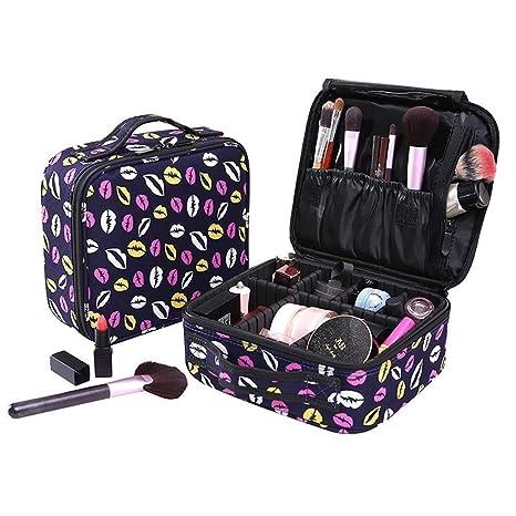 Koopee Neceser de Maquillaje Pequeño Cosmético Bolsa de Almacenamiento Viaje, Profesional Makeup Bag Mujeres Niñas Brochas de Maquillaje Estuches ...