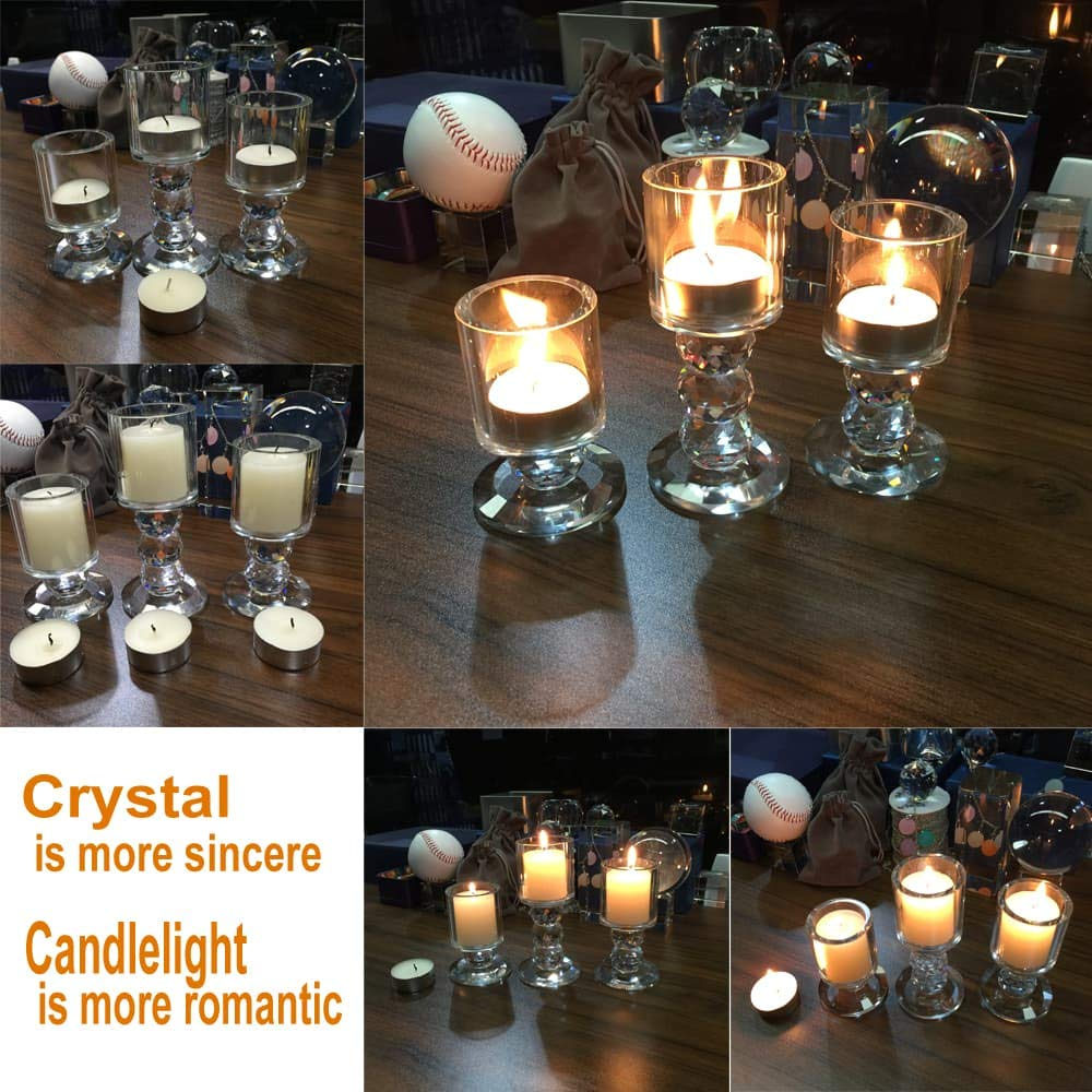 """Crystal Candle Holder Set of 3 Crystal Candlestick 3.3""""/4.2""""/5"""" Height Tealight Pillar Candle Holder Set Centerpieces for Wedding Parties Home Decor Ceremony and Anniversary"""