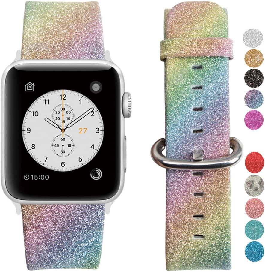 MIFFO Apple Watch Band Leather iWatch Strap Extreme Deluxe Shiny Bling Glitter Leather Bracelet Wristband for Apple Watch Series 1, Series 2, Series 3 Sport Edition (Rainbow-42mm)