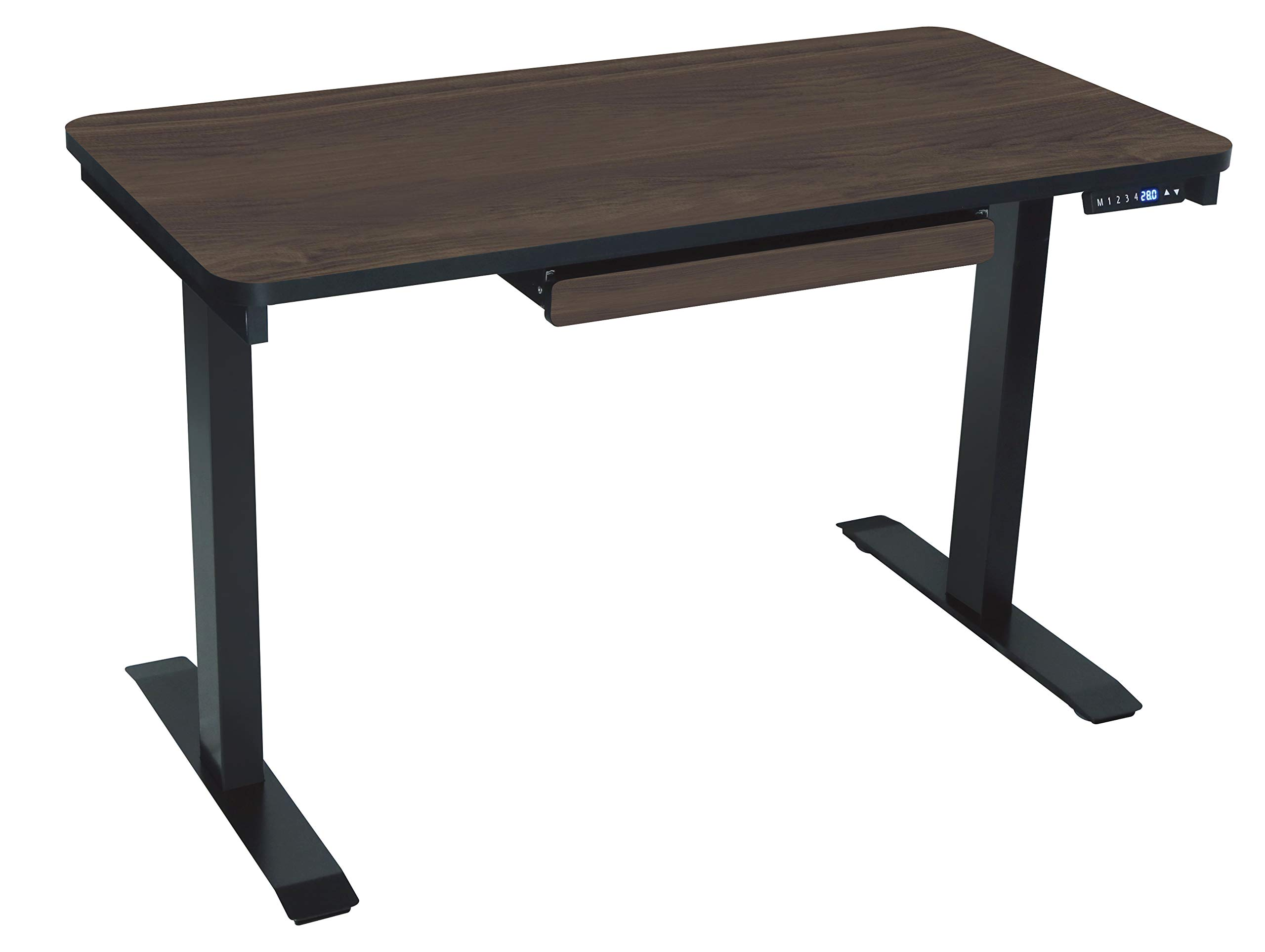 Motionwise SDG48A Electric Standing Desk, 24''x48 Home Office Series 28''-48'' with Quickly Program up to 4 pre-Set Height adjustments and USB Charge Port, Walnut Top with Black by MotionWise