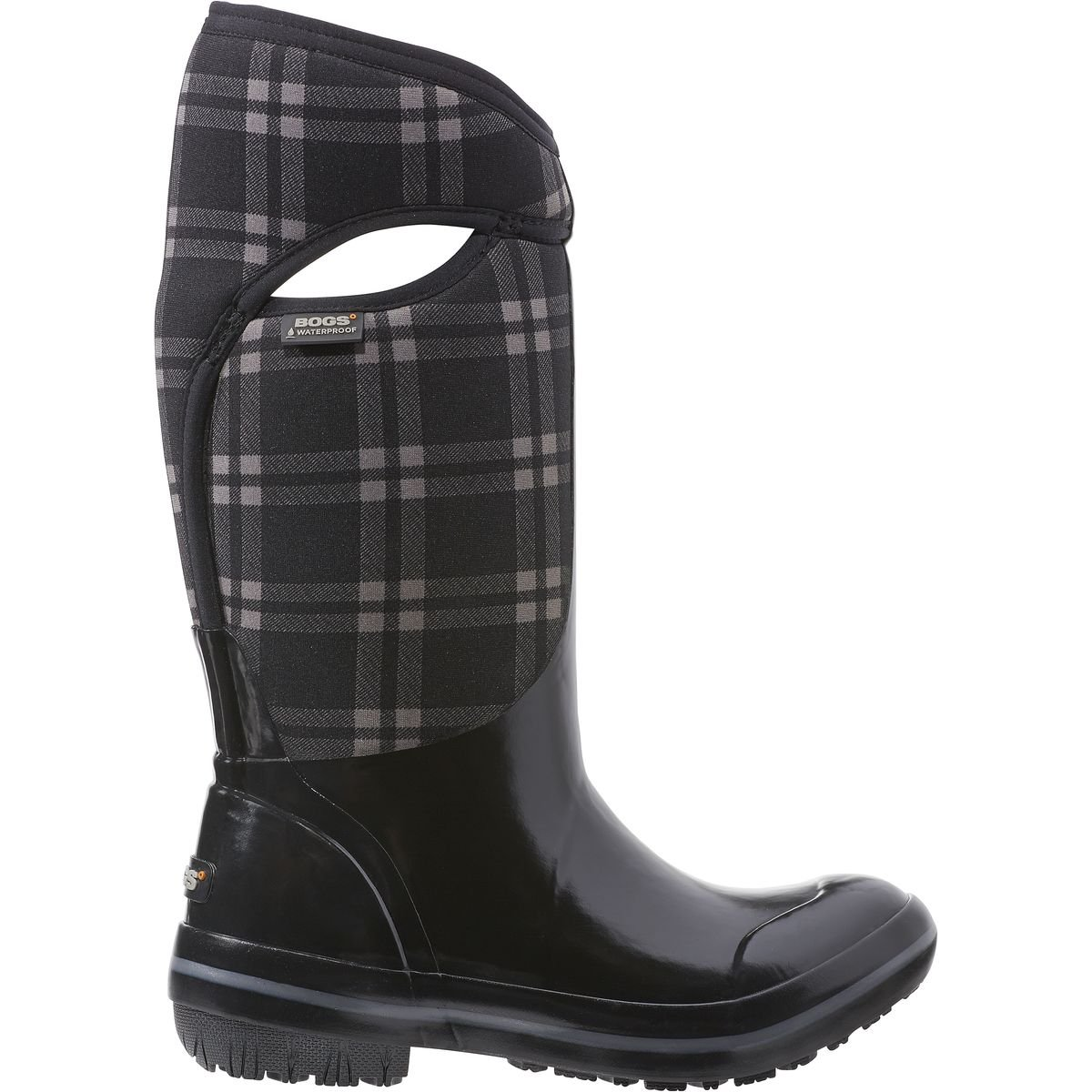 Bogs Women's Plimsoll Plaid Tall Waterproof Insulated Boot, Black