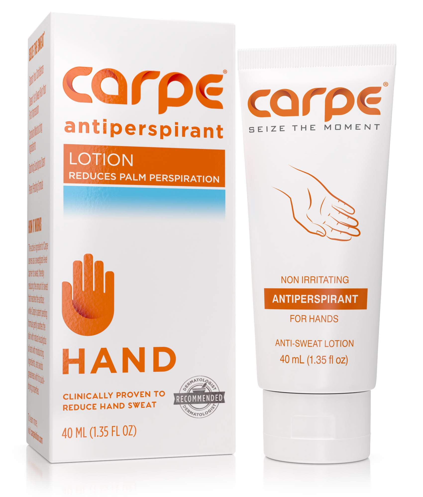 Carpe Antiperspirant Hand Lotion, A dermatologist-recommended, non-irritating, smooth lotion that helps stop hand sweat, great for hyperhidrosis or excessive sweat