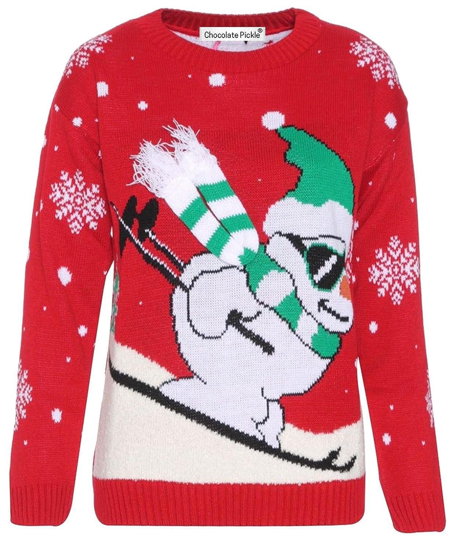 Damen Herren Unisex Skifahren-Schneemann 3d Schal Weihnachten Pullover Tops 36-42