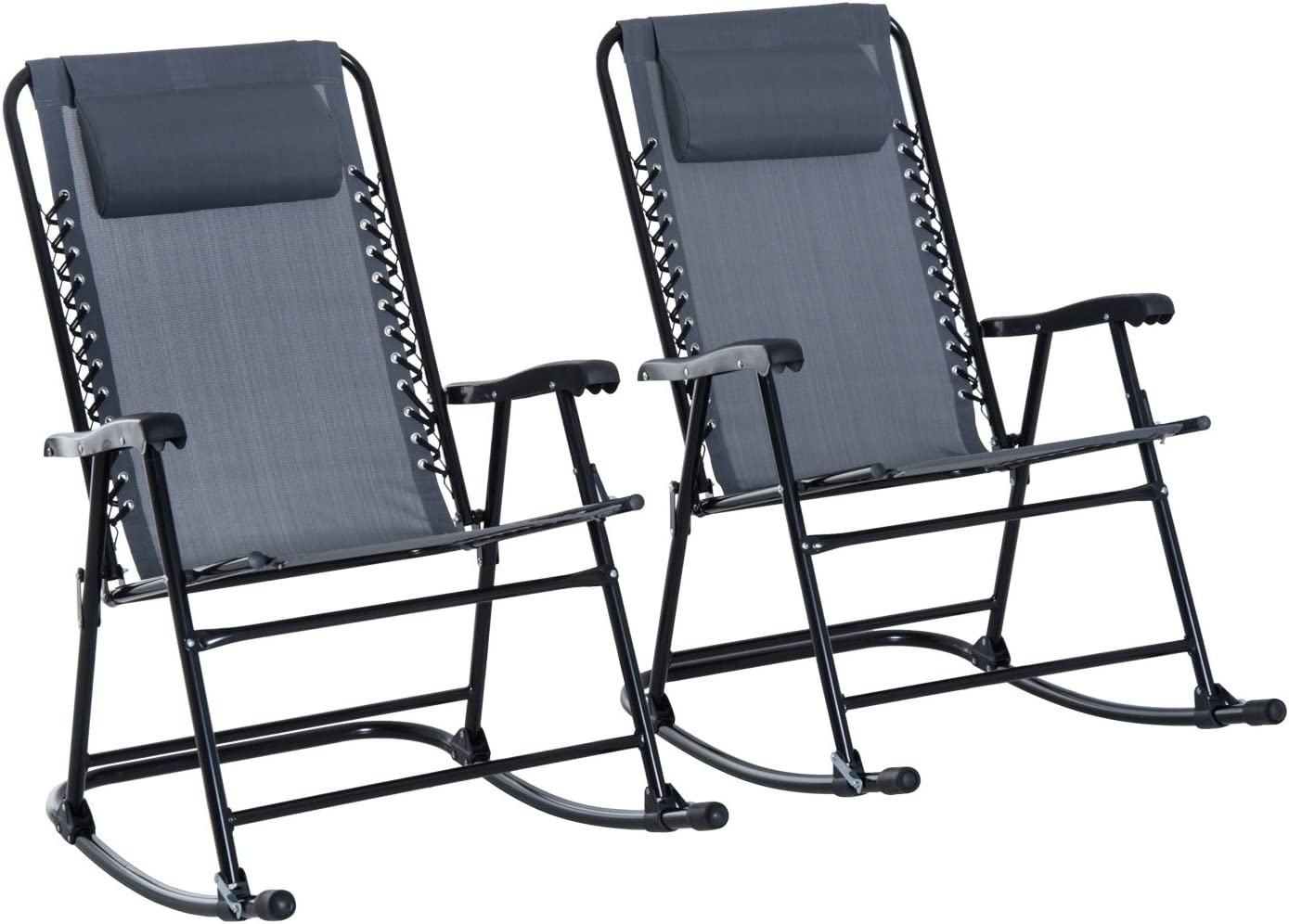 Outsunny Mesh Outdoor Patio Folding Rocking Chair Set – Grey