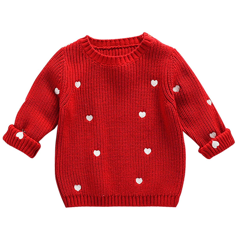 Bebone Kids Girls Knitted Sweater Heart Print Crew Neck Pullover