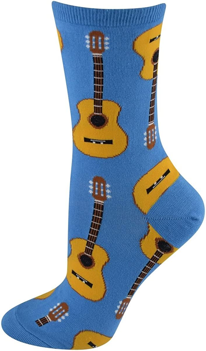 Socksmith Womens Socks Acoustic Guitars Crew Blue 1pair