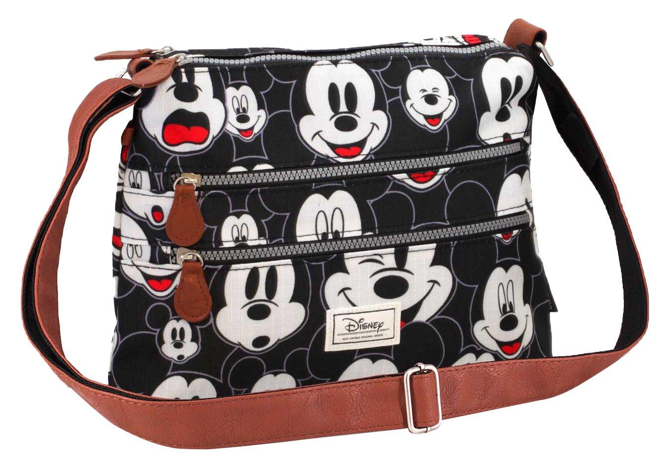 Disney Classic Mickey Visages Umhängetasche, 30 cm, Schwarz (Negro) Karactermania 36480