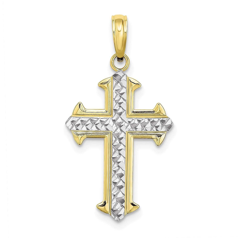 10K Yellow Gold w//Rhodium-plated Diamond-cut Cross Charm Pendant
