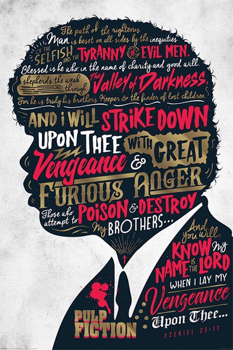 Póster Pulp Fiction - Ezekiel 25:17 (61cm x 91,5cm) + 1 póster Sorpresa de Regalo
