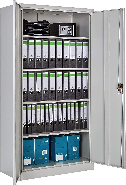 TecTake Armario archivador de Oficina metálico con 2 Puertas bloqueable e estantes - Varias tamaños - (180x90x40 cm | no. 402483)