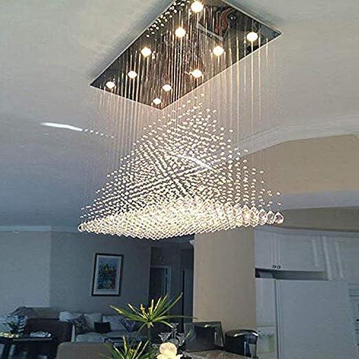 Siljoy Modern Rectangle Rain Drop Crystal Chandeliers Rectangular Dining Room Ceiling Lights Over Table L100cm X W50cm Amazon Co Uk Lighting