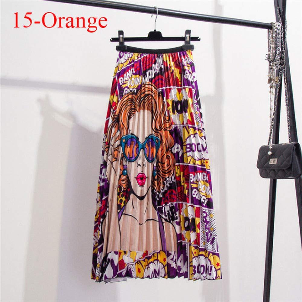 KLGDF Falda Faldas de Mujer Falda Plisada de Cintura Alta elástica ...