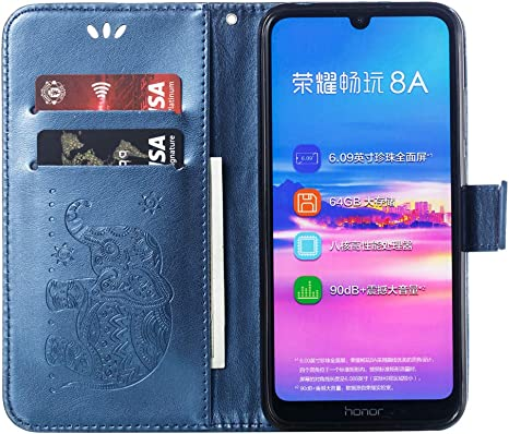 ,green Shock-Absorption Saceebe Compatible with Huawei Y6 2018 cover case PU Leather Flip Book Wallet Case Love and Baby Elephant Embossed Leather Case Protective Bumper Cover Case