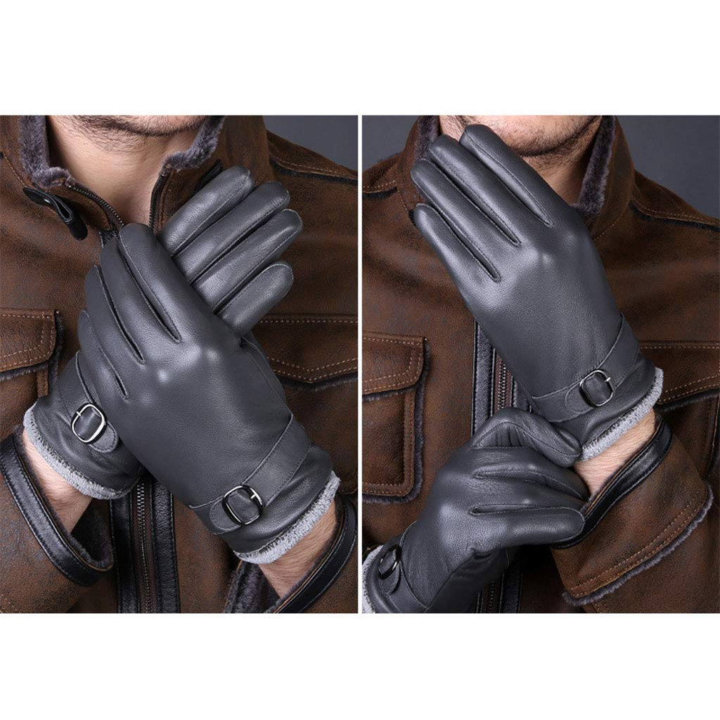 Mens Genuine Leather Gloves,Winter Warm Linied Thick Windproof Mittens Outdoor Cycling Climbing Sport