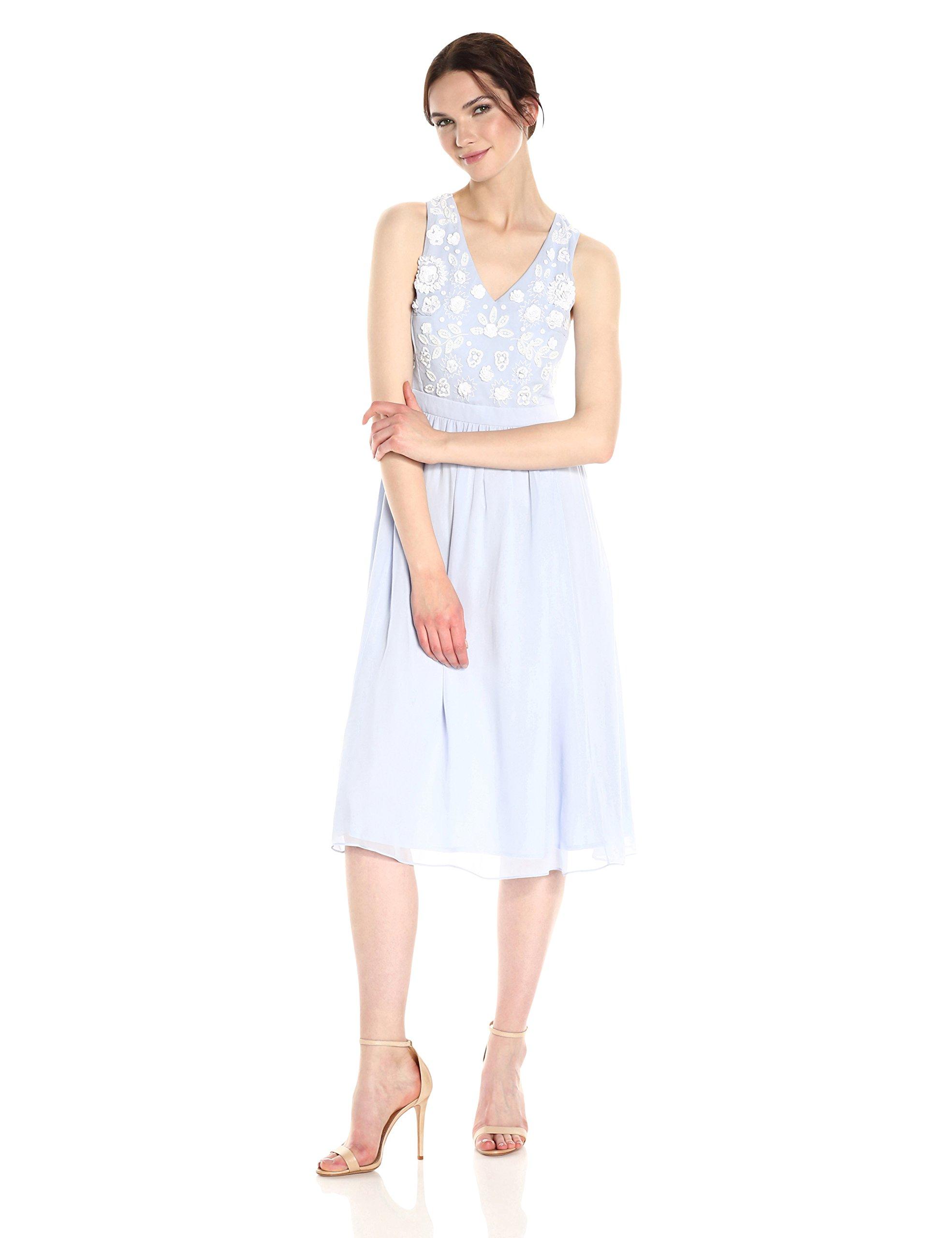 French Connection Women's Dalia Sheer Dress, Salt Water/Summer White, 12