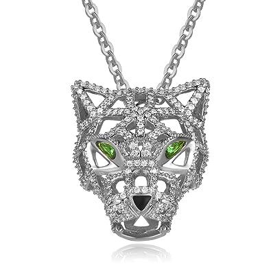 4ea15381ecd7 Amazon.com  YOUWANG AAAA Cubic Zirconia Fashion Jewellery Jaguar Panther Pendant  Necklace for Women 18k Platinum Plated  Jewelry