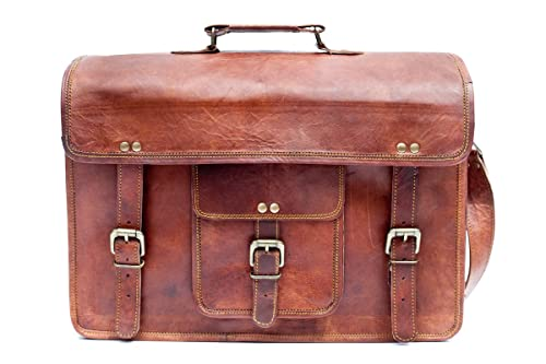 Barello Unisex Ledertasche Handarbeit Echtes Leder Schultertasche Laptoptasche 40cm Oxford Schultert...