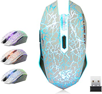 7 Buttons with 2400//1600//800DPI C10 White VEGCOO C10 Wireless Gaming Mouse Rechargeable Silent Optical Mice with 7 Colors LED Lights