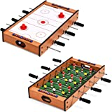 Giantex Multi Game Table, 2 in 1 Combo Mini Game Table Top w/Soccer, Slide Hockey, Wood Foosball Game Table Top w…
