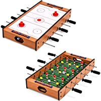 Giantex Multi Game Table, 2 in 1 Combo Mini Game Table Top w/Soccer, Slide Hockey, Wood Foosball Game Table Top w/Footballs, Perfect for Game Rooms, Arcades, Bars, Parties, Family Night