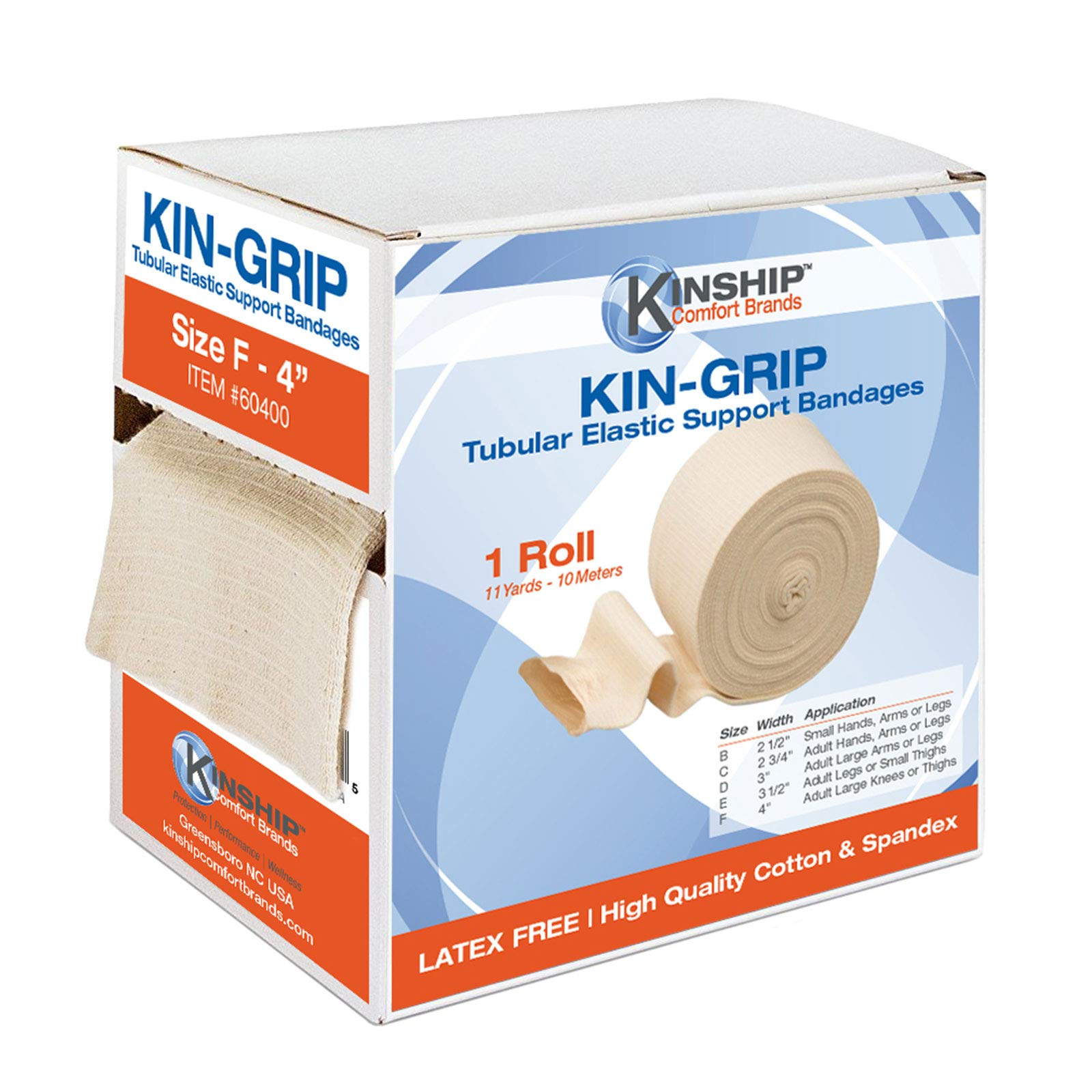 Kin-Grip Latex-Free Cotton Spandex Tubular Elastic Support Bandages by Kinship Comfort Brands® | Size F (4'' x 10 Meters) (Available in B,C,D,E,F by Kinship Comfort Brand