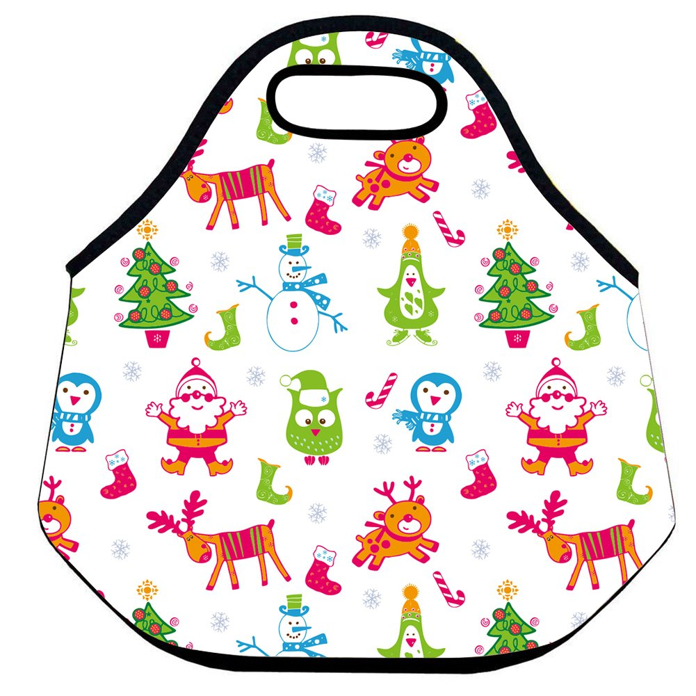 Amazon.com: CELYCASY Tie Dye Lunch Bag Christmas Tree with Snowman ...