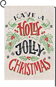 BLKWHT Holly Jolly Christmas Quotes Garden Flag Vertical Double Sided 12.5 x 18 Inch Winter Yard Decor
