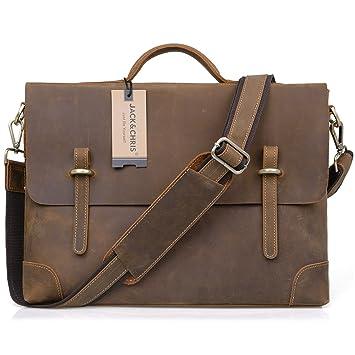 Amazon.com: Jack&Chris®Leather Men's Brown Business Bag Messenger ...