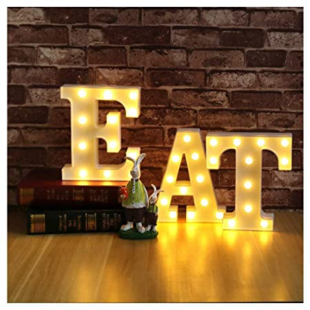 EAT Alphabet Letters set LED Mqrquee Sian, Festival Marquee Night Light, Restaurant Decorative Table Lamps, Wall Hanging Mood Lights