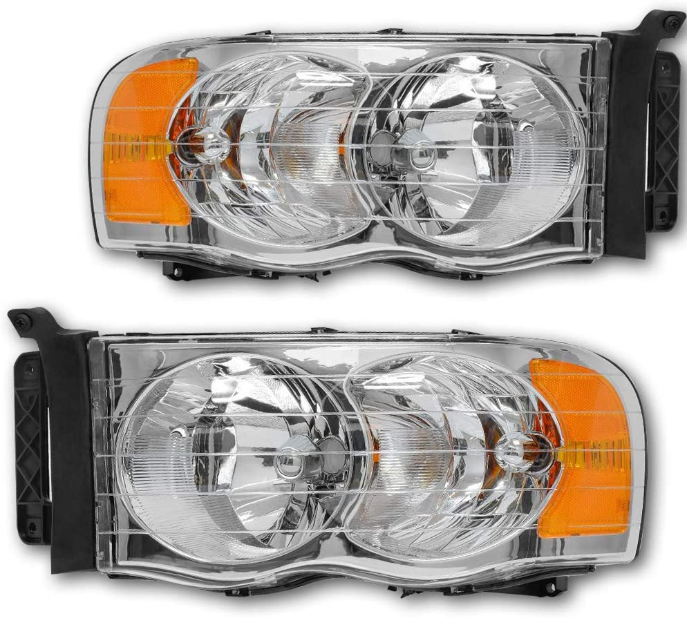 Pair of Chrome Housing Clear Lens Headlight Headlamp Assembly Replacement for Dodge Ram 1500 2500 3500 Pick up 02-05