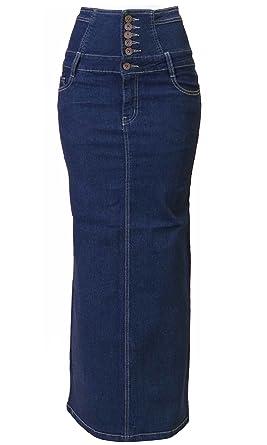 376a87ca1 Women's Juniors High Waist Long/Knee Length Midi Pencil Denim Skirt ...