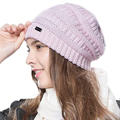 0ac8206c250 FURTALK Ladies Knit Slouch Winter Hat - Wool Baggy Chunky Cable Beanie Hats  for Women  Amazon.co.uk  Clothing