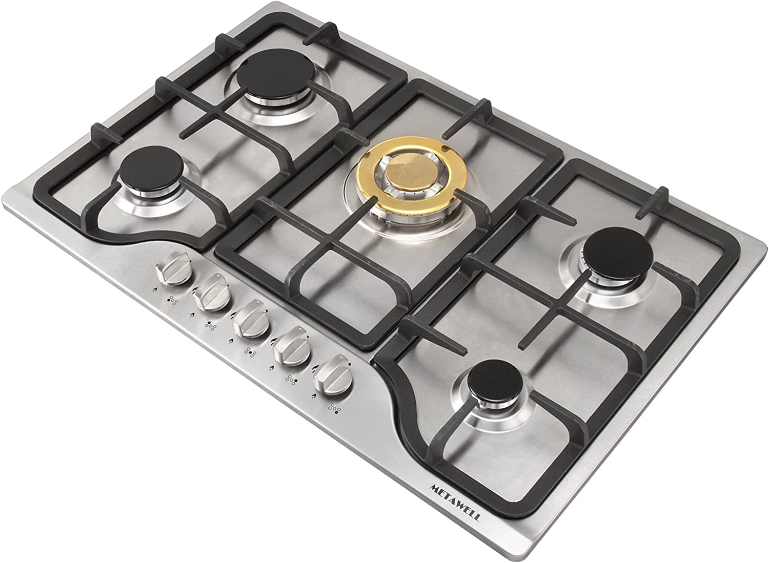 """METAWELL New 30"""" Stainless Steel 5 Burners Cooktops Built-in Stoves Natural Gas Hob Cooker"""